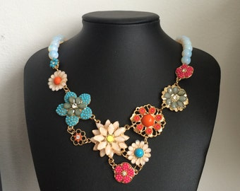 Flowers and Moonstone Necklace
