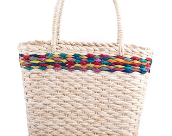 Shopping bag in bag with coloured stripes