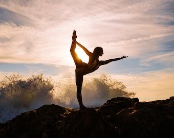Yoga Print, Fine Art Photography, Lord of the Dance Pose, Nataranjasana, Portrait, Beach, Waves, Sunset, Meditation, Nature, Asana, Ethereal