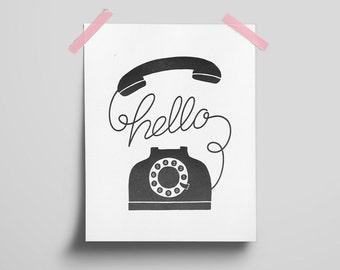 Hello Phone Letterpress Art Print