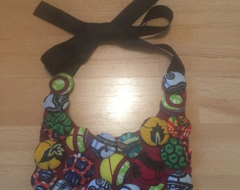 African print covered buttons necklace