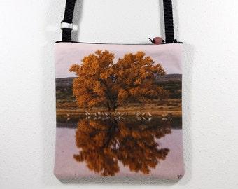 Cotton Purse with Bosque del Apache Cottonwood Reflexion Cranes Photo Print