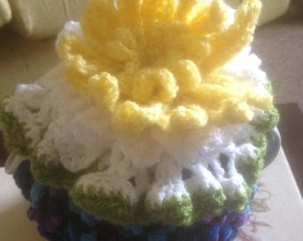 Water lily tea cozy hand knitted and crocheted
