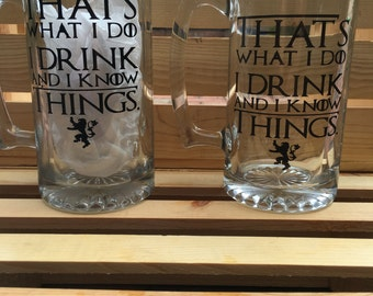 Game of Thrones Thats What I Do I Drink And I Know Things Beer mug