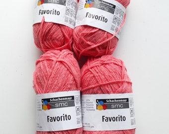 Coral yarn, cotton yarn, knitting yarn, crochet yarn, Schachenmayr SMC Favorito, cheap yarn, yarn lot, medium yarn, worsted yarn, afghan