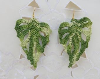 Crochet earrings, handmade, in the form of leaf