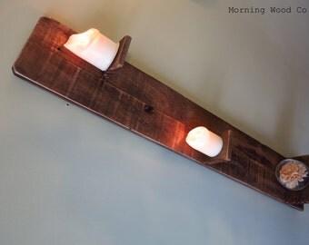 Handcrafted rustic vertical shelf