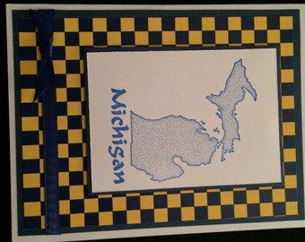 Greeting Card Michigan Blue and Maize