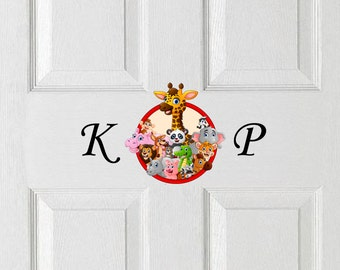 Personalised / Custom Door Sticker Decal with Initials and Animals