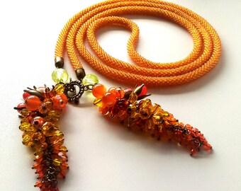 "Beaded lariat necklace ""Orange summer"". Handmade jewelry"
