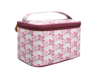 TaylorHe Vanity Bag Make-up Bag Toiletry Bag With Handle Pink Floral Pattern.