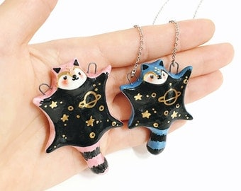 Universe flying squirrel necklace, flying squirrel,ceramic necklace