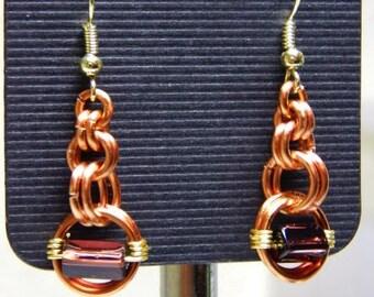 muti-link earrings with purple bead