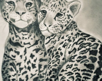Hand-drawn baby leopards