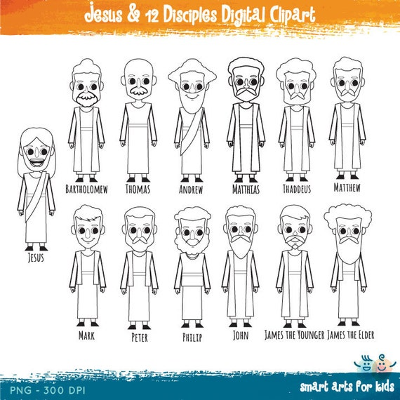 Jesus And 12 Disciples Digital Clipart Bible By