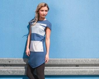 Prism dress Blueberry - geometric patchwork square hem dress
