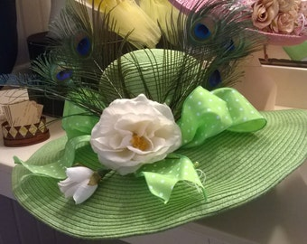 wide brim green straw summer hat