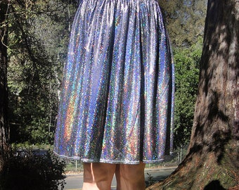 Sparkling Skirt, dark-silver rainbow metallic color. Size M, below knee, new