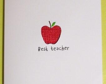Best teacher cross-stitch apple card