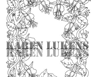 Fuchsia Vine, 1 Adult Coloring Book Page, Printable Instant Download