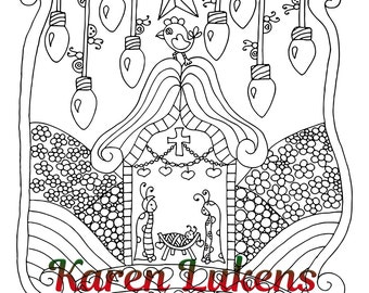 Christmas - Tis The Reason, Baby Jesus in the Manger, Christian, Christmas, Nativity, 1 Adult Coloring Book Pages, Karen Lukens