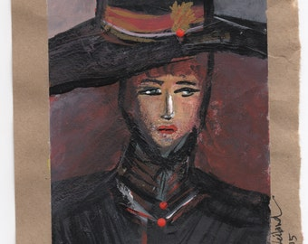 Mysterious Victorian Woman with Hat