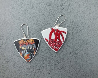 Aerosmith Double Sided Sterling Silver Guitar Pick Earrings (2104)