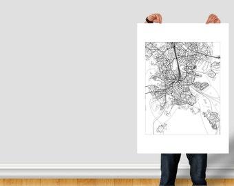 Street Map of Helsinki, Finland