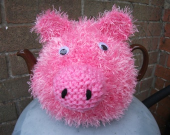 Handmade Knitted Pig Tea Cosy/Cozy
