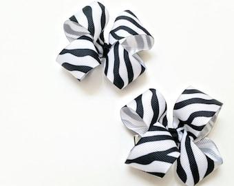 Sml Zebra Print Bows/ Set of 2