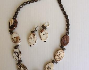 Ocean Jasper & Smoke Quartz Necklace