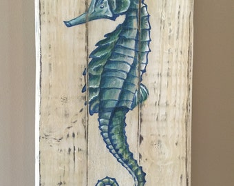 Original Seahorse hand painted on reclaimed pallet wood