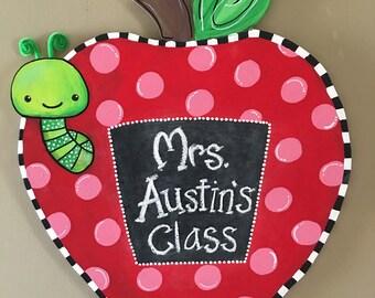 Hand painted and personalized door school door hanger, teacher gift, classroom decor, school photo prop