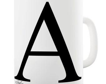 Alphabet Monogram A Ceramic Tea Mug