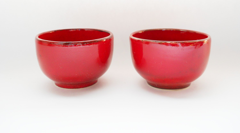 2 Coffee Cups Stoneware Rust Red Kitchen Decor Tea Tumblers