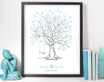 wedding tree guest book, finger print tree with swing, wedding tree fingerprint thumbprint wedding guest book, arbre à empreintes, printable