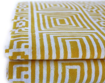 Large Geometrical Wood-Block Printed Yellow Bed Cover or Flat Sheet or picnic blanket