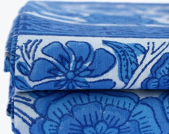 Large Indian Blue Sunflower Wood-Block Printed Bed Cover or Flat Sheet. Picnic Throw