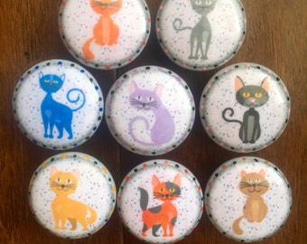 1.5 inch, colorful, funny cats, cats, blue, kitchen, baby nursery, lavender, calico, gray, orange, brown, yellow, EACH SOLD SEPARATELY