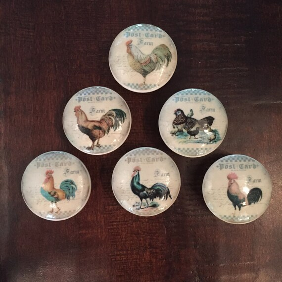 1 5 inch roosters chickens cabinet knobs drawer pulls - Red kitchen cabinet knobs ...