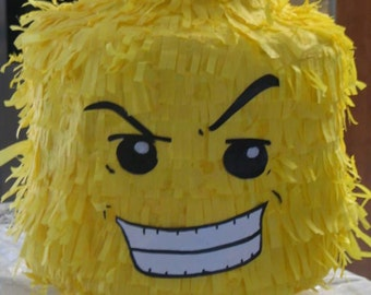 Lego Brick Head Piñata. Handmade. New