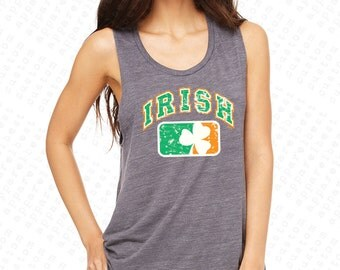 Irish Flag Women's Muscle Tank Top Ireland Flag with Irish Colored Shield USA Flag 4th of July Tanks St Patrick's Day