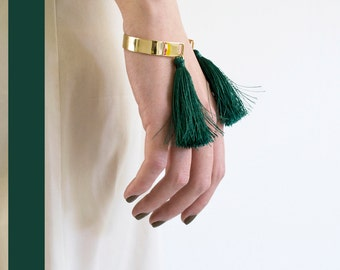 Golden bangle cuff with tassels (fringes) Greens