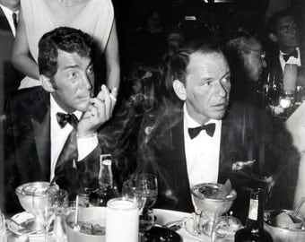Dean Martin and Frank Sinatra at Dinner in 1960s Rat Pack - 5X7, 8X10 or 11X14 Photo (AA-227)