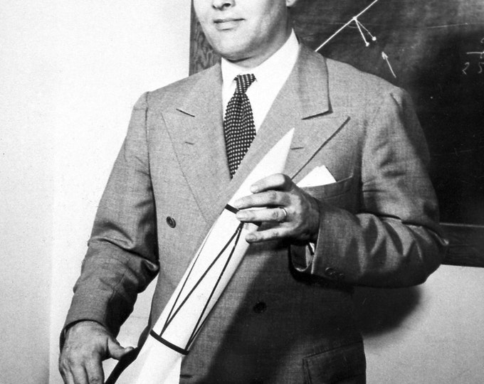 Dr. Wernher Von Braun Holds a Model of the V-2 Rocket - 5X7, 8X10 or 11X14 NASA Photo (EP-049)