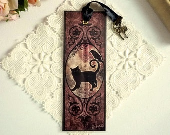 The Crow and the black cat - bookmarks illustrated, plasticized, handmade