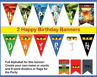 Ninjago Birthday banners. 2 banners for the price of one