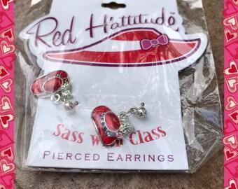 Red hat society earrings