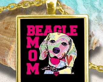 Beagle Mom Necklace - Beagle Jewelry for Beagle Lovers - Beagle Pendant