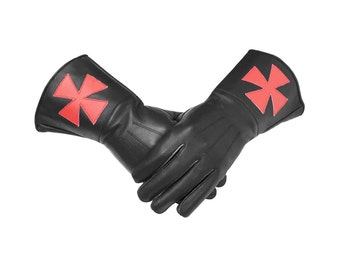 Masonic Knight Templar Black Gauntlets Real Leather Gloves - Brand New